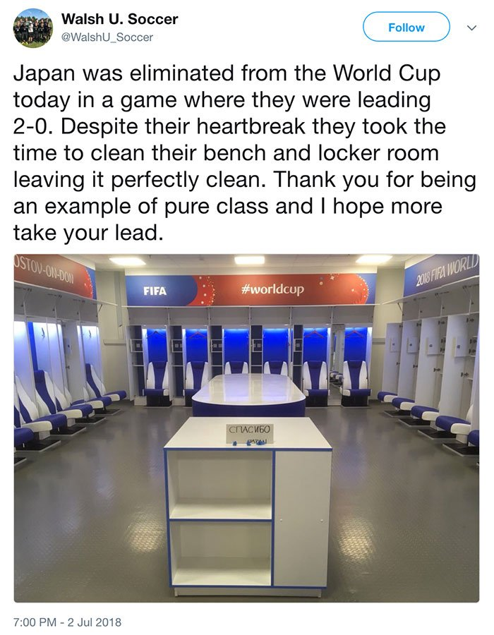 日本隊在球員休息室離去前留下的,除了是整潔的休息室外,還有一張用俄文寫下的「謝謝」感謝卡。(twitter.com/WalshU_Soccer)