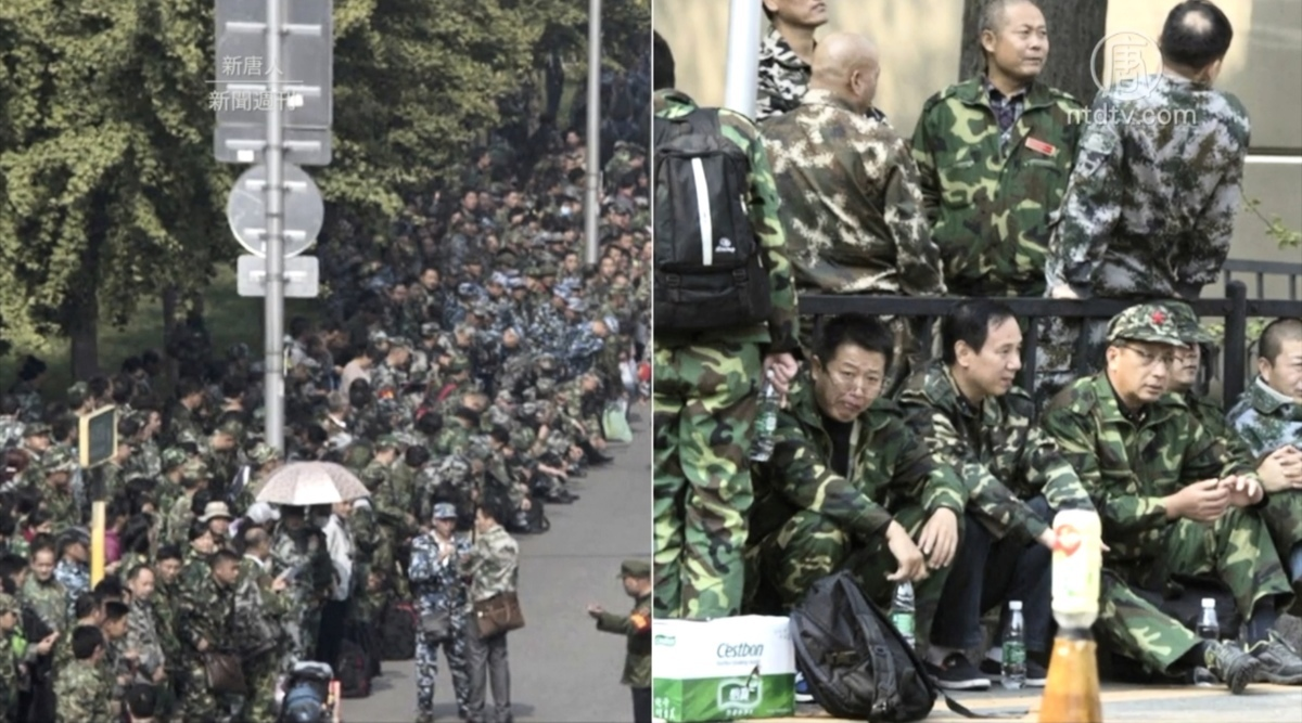 中國江蘇鎮江的老兵維權抗爭演變成流血衝突,維權老兵被當局血腥鎮壓清場,網傳有人傷亡。(視像擷圖)