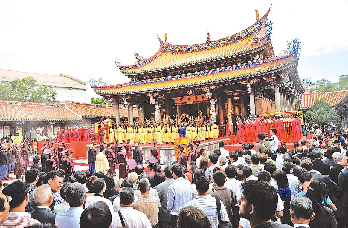 圖為台北孔廟的祭孔儀式。(Getty Images)