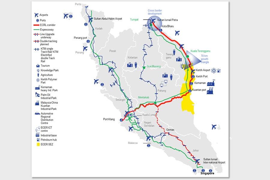 馬來西亞暫停的東海岸鐵路(East Coast Rail Link)示意圖(紅線部份)。(馬來西亞官網)