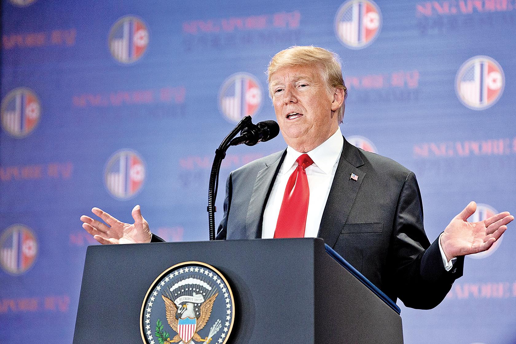 特朗普7月1 日接受霍士新聞專訪時表示,與金正恩達成無核化協議,不排除金有可能食言。(Samira Bouaou /大紀元)