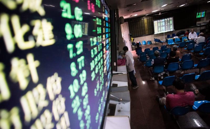 中美貿易戰前夕,大陸股市全面下跌。圖為示意圖。(AFP)