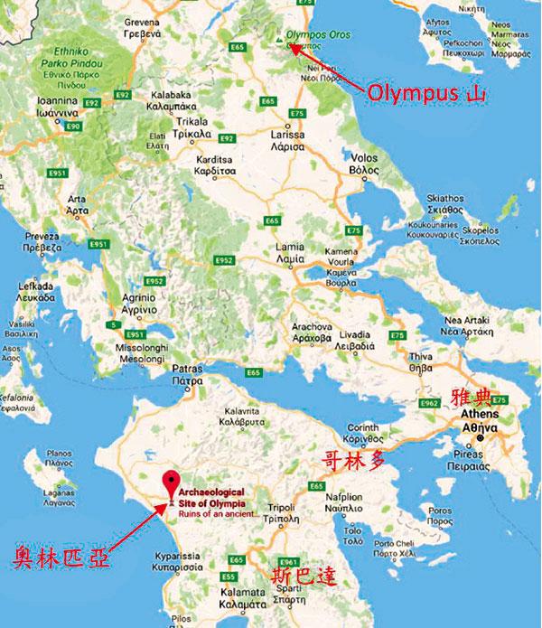 希臘奧林匹亞地圖。