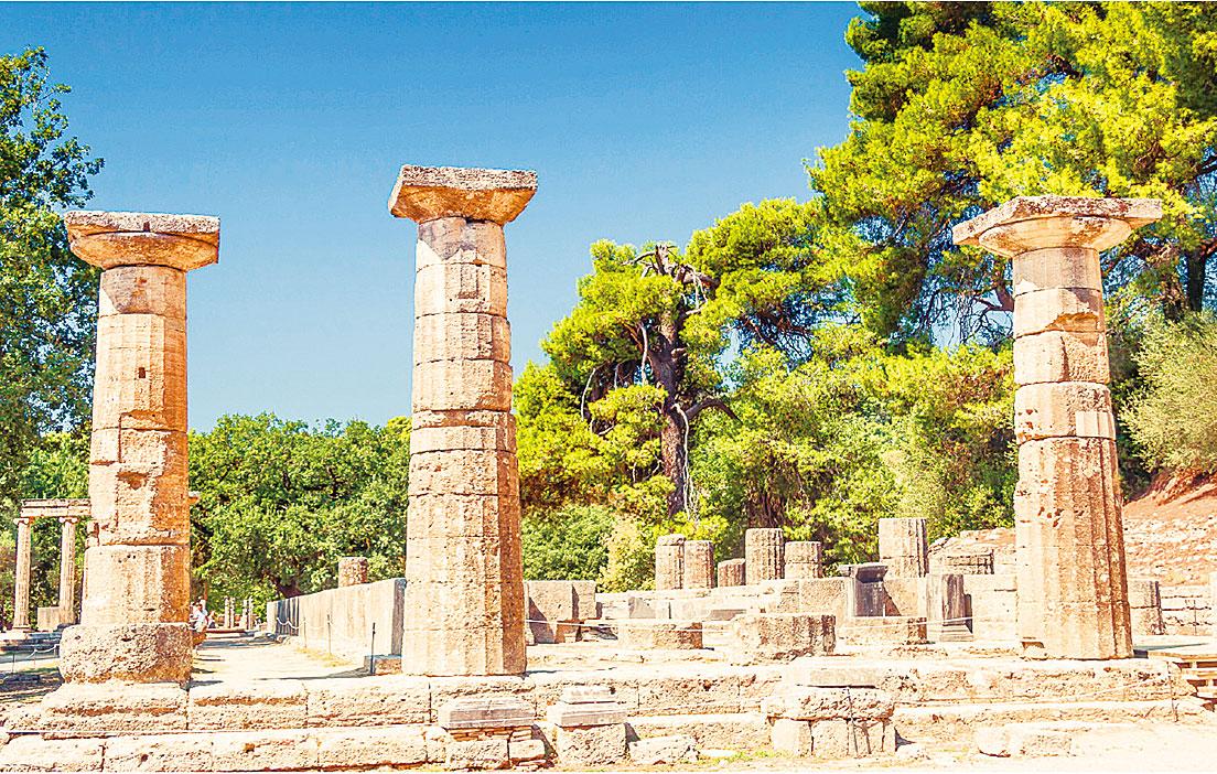 希臘奧林匹亞神殿區一景。