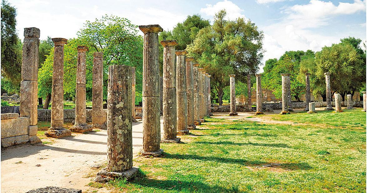 希臘古代奧林匹亞的廢墟。