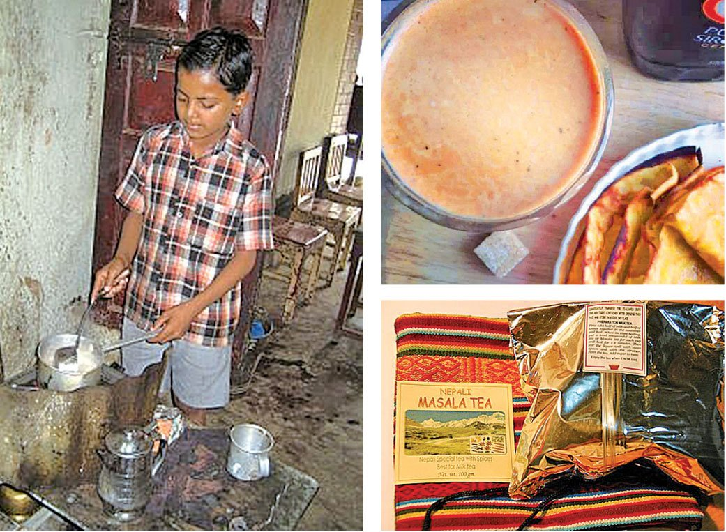 尼泊爾的瑪莎拉蒂(Masala Tea)鮮奶茶的香料成份大概是荳寇、丁香、肉桂皮等,再加入牛奶烹煮。(網絡圖片)