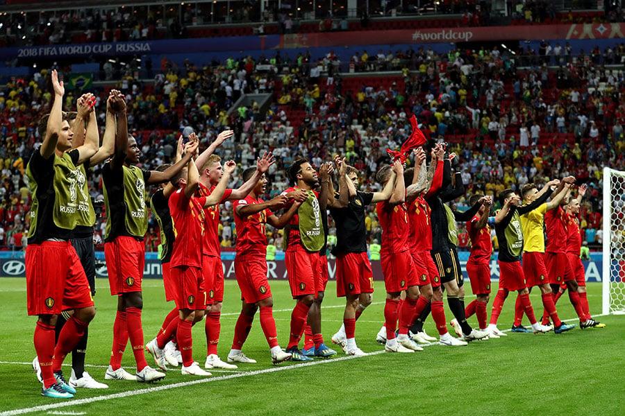 比利時隊時隔32年再度打進四強,對得起世界第三的身價和排名。(Catherine Ivill/Getty Images)