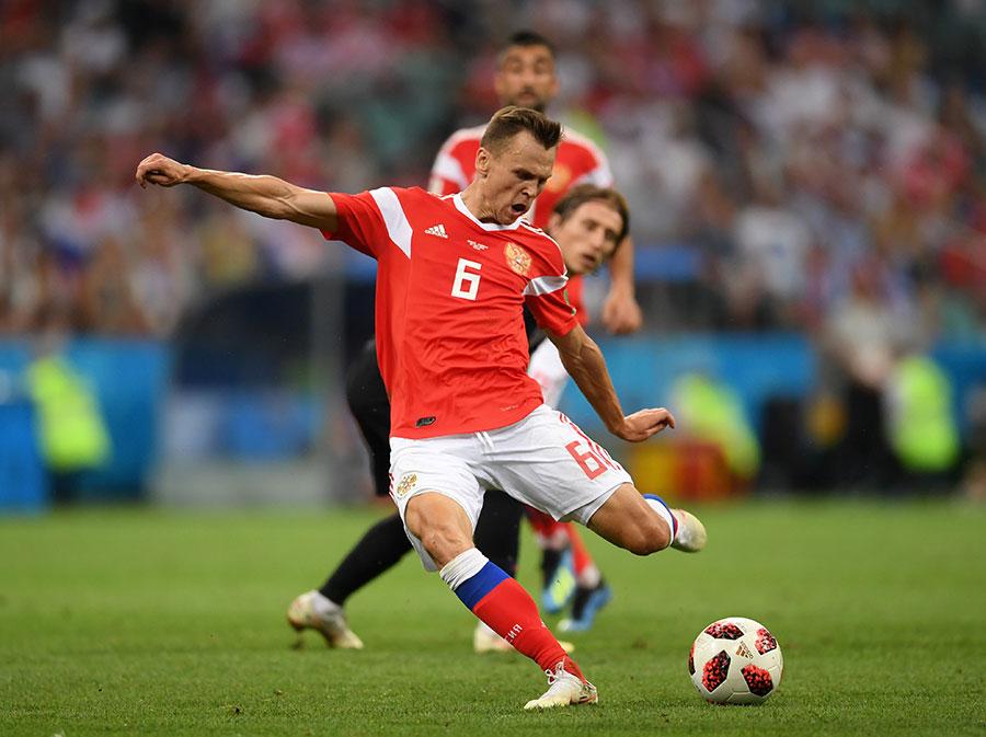 卓利舒夫的破門為俄羅斯先拔頭籌。(Laurence Griffiths/Getty Images)