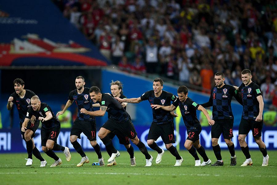 克羅地亞在點球大戰中獲勝,慶祝勝利。(Laurence Griffiths/Getty Images)