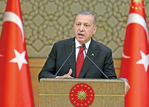 土耳其總統埃爾多安在9日宣誓就職後,10日任命女婿為財政部長,造成里拉兌美元重貶。(AFP)