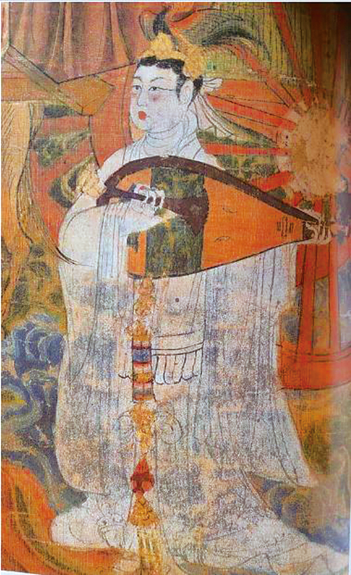 唐朝繪畫裏彈琵琶的女子。(Uriel Wang/Wikimedia Commons)