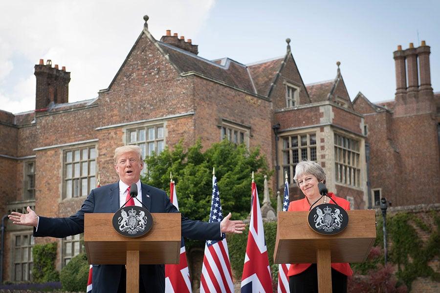 特朗普人在歐洲訪問,卻仍心繫亞洲的中美貿易戰與朝核問題。(Richard Pohle - WPA Pool/Getty Images)