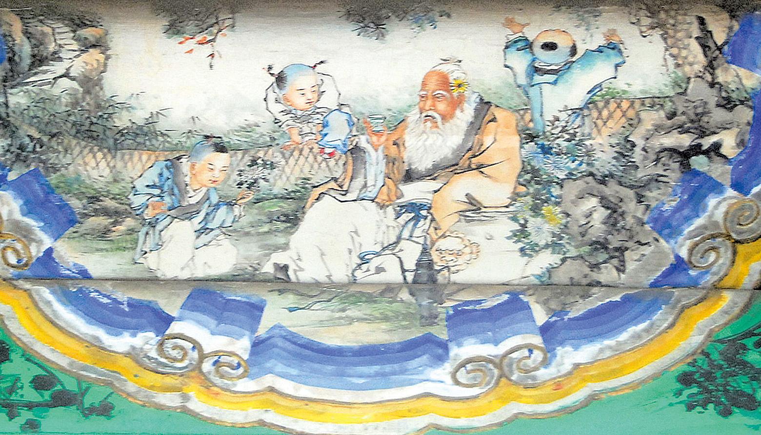 頤和園長廊彩繪《淵明愛菊》(公有領域)
