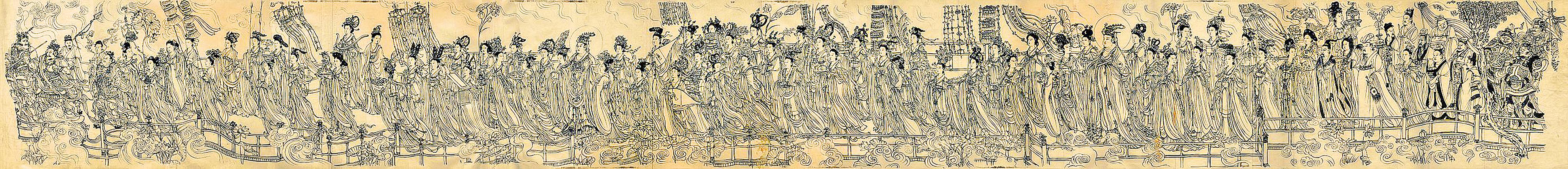 八十七神仙卷是一幅絹本水墨白描人物手卷,現藏於在徐悲鴻紀念館。原畫無署名無款識(維基百科公共領域)