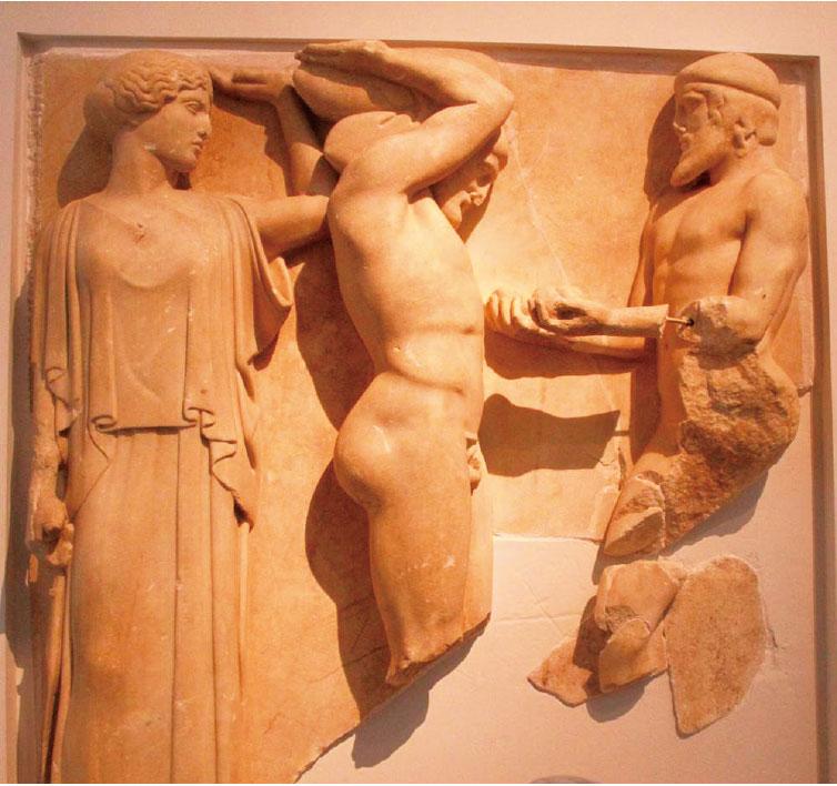 宙斯神殿裏的雕像。