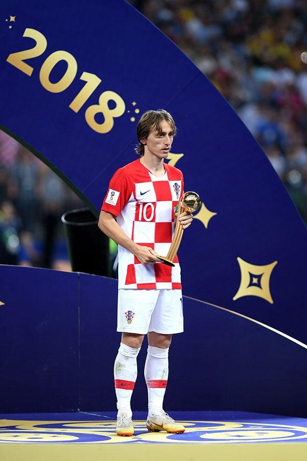 克羅地亞中場靈魂莫迪歷榮獲本屆世界盃最佳球員——金球獎。(Shaun Botterill/Getty Images)