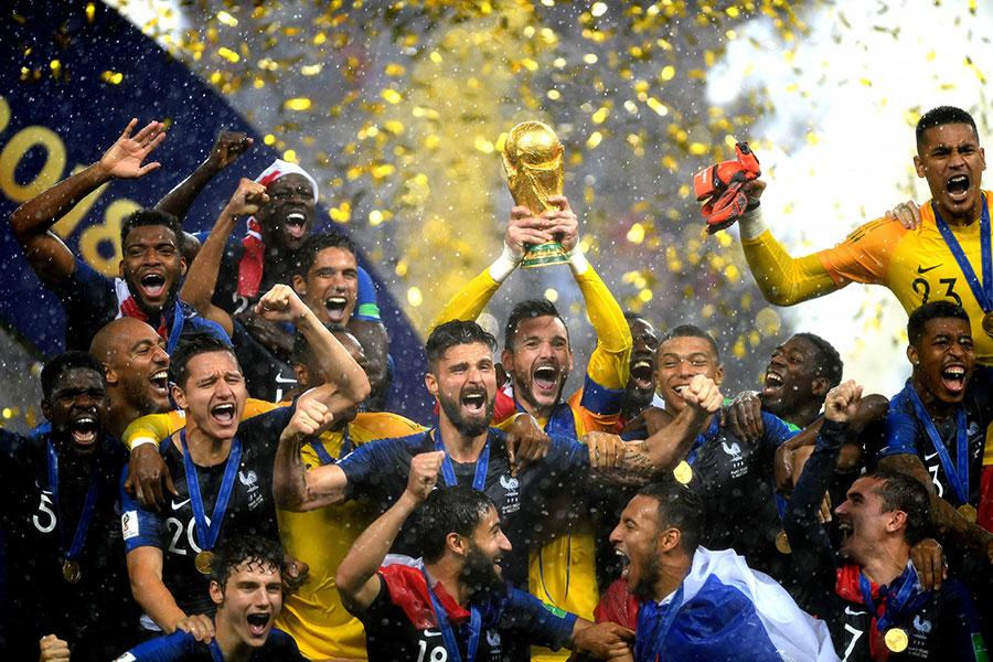7月15日,法國隊在俄羅斯莫斯科舉辦的世界盃決賽中奪冠。(Shaun Botterill/Getty Images)