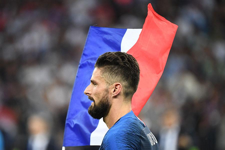 法國隊前鋒基奧特幾乎每場比賽都是正選出場,7場比賽中有15腳射門、0入球,照樣舉起大力神盃。(FRANCK FIFE/AFP/Getty Images)