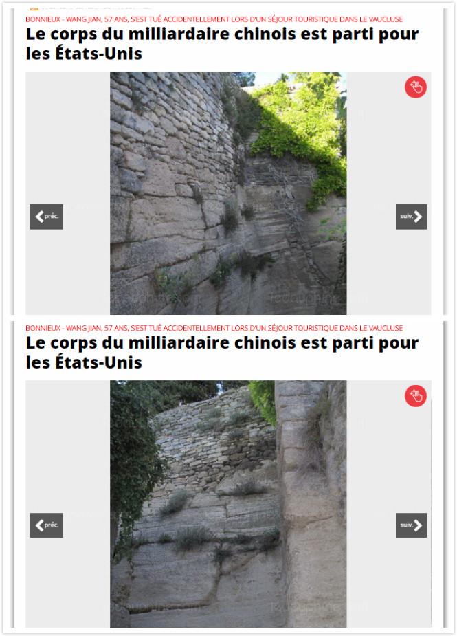 《Le Dauphiné》記者拍的王健墜落現場的圖片。(網頁擷圖合成)