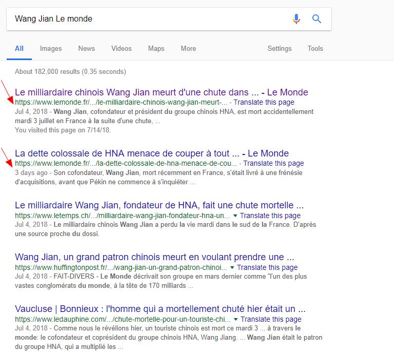 谷歌新聞顯示,法國《世界報》對王健案件報道的2則新聞。(網絡圖片)