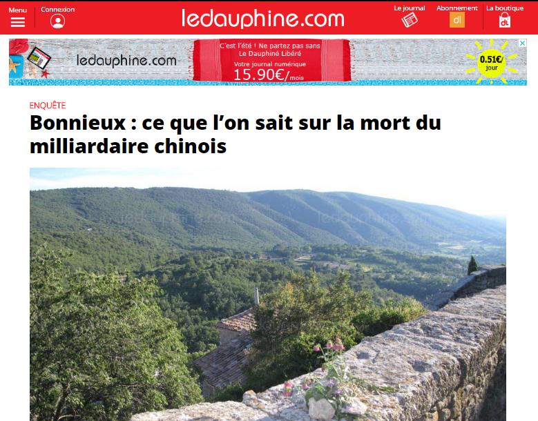 7月15日,法國地方報《Le Dauphiné》首次透露王建案件更多細節。(網頁擷圖)