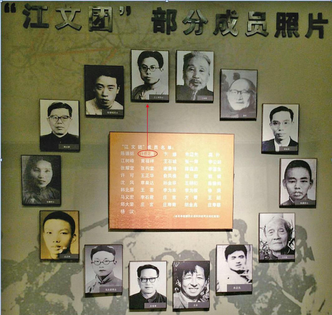 「江上青史料陳列館」中的「江文團」排名,江澤民的叔父江上青(箭頭所指)名列第二,而江上青的頂頭上司、主席兼團長卞璟反而排到了第三。(卞世傳提供)