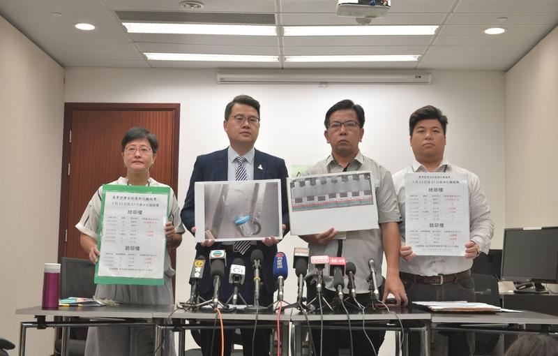 民主黨發現,葵翠邨有食水樣本含鉛量超出世衛標準,最嚴重的樣本超標近10倍。(民主黨提供)
