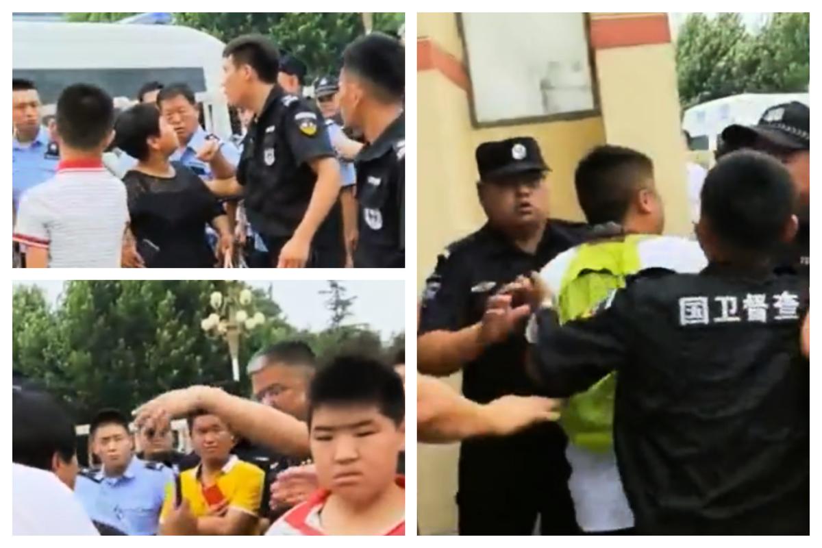 家長學生到市政府上訪,遭警察驅趕。(視像擷圖)