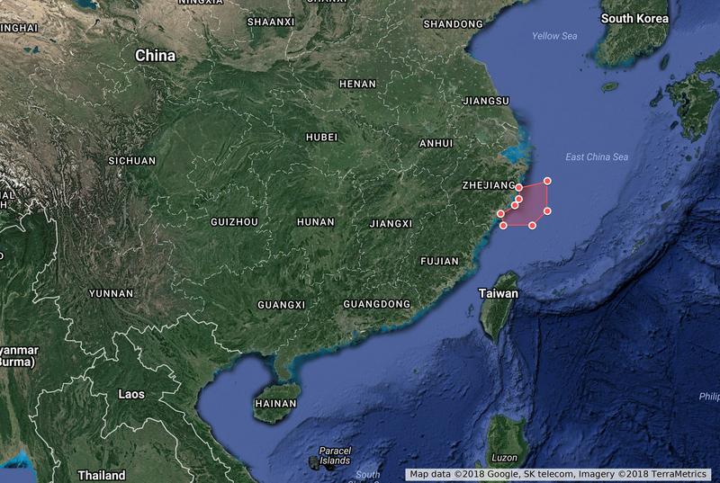中共軍隊從18日至23日在東海實彈演習。圖為中共軍隊演習區域。(中央社)
