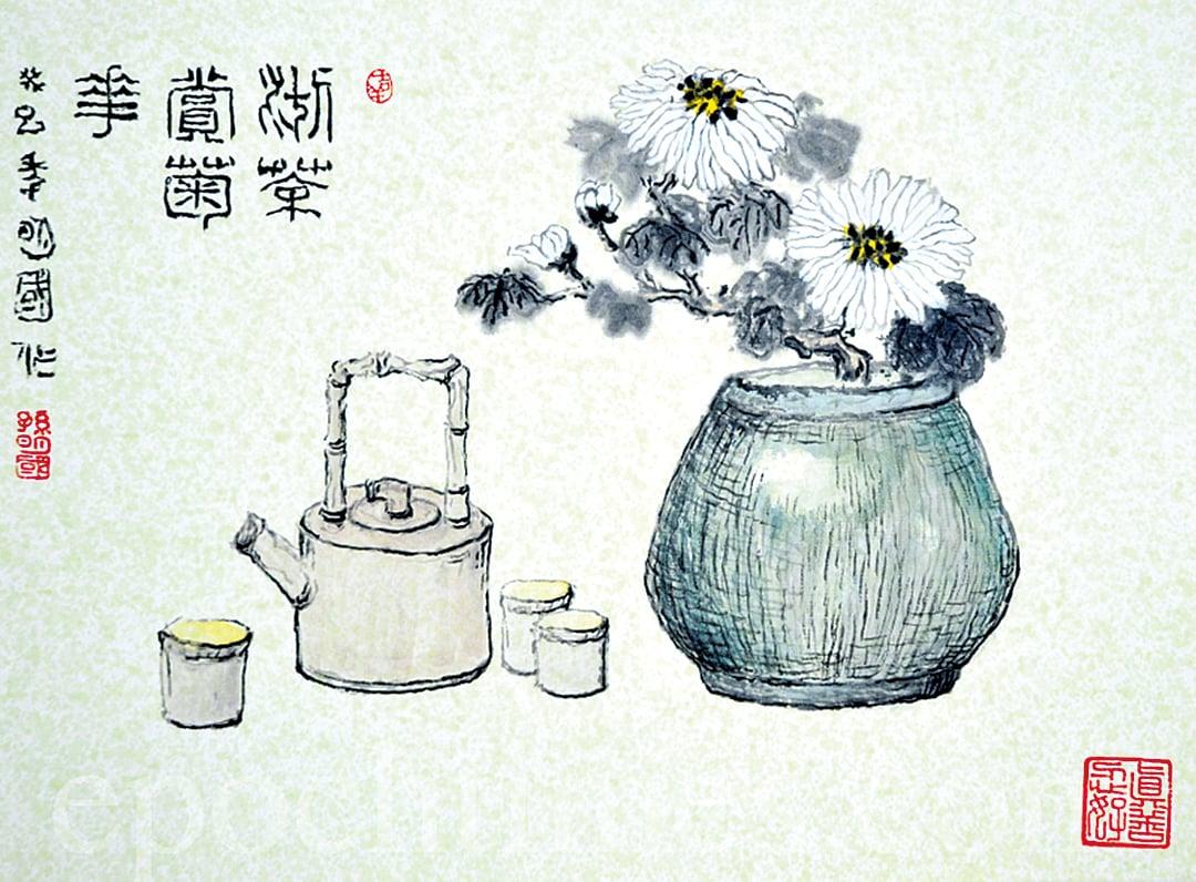 孫明國繪《沏茶賞菊》(大紀元圖片庫)
