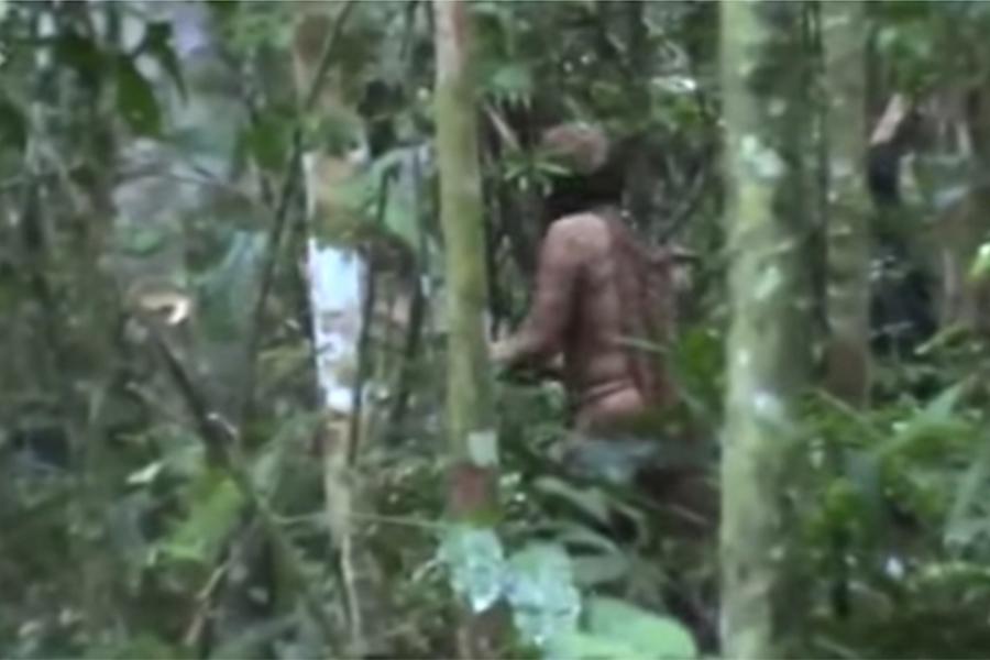 巴西的亞馬遜叢林裏生活著一個土著部落的唯一倖存者。他已獨自生活了22年。(視像擷圖)