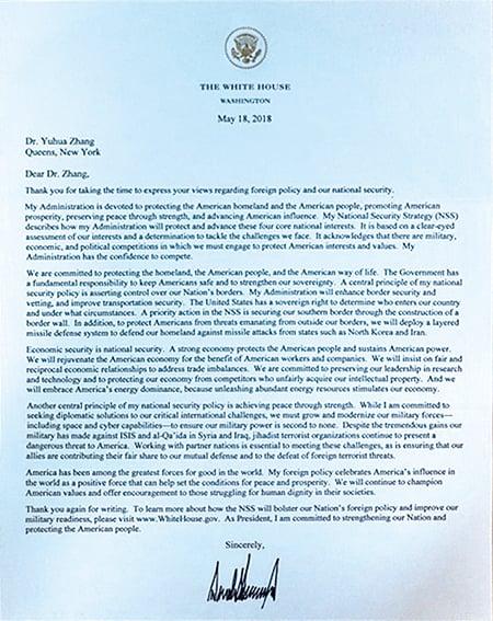 今年5月,特朗普總統給張玉華博士的親筆簽名回信照片。(張玉華提供/轉載自希望之聲電台)