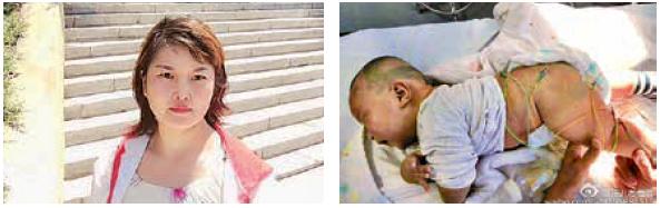 北京疫苗受害家長賈小玉(左)是昨日到北京衛健委抗議的民眾之一。她2歲長子賈耀杰(右)2個月大時接種了問題脊髓灰質炎疫苗後下肢癱瘓,花費數十萬治療後仍然殘疾。(受訪者提供)