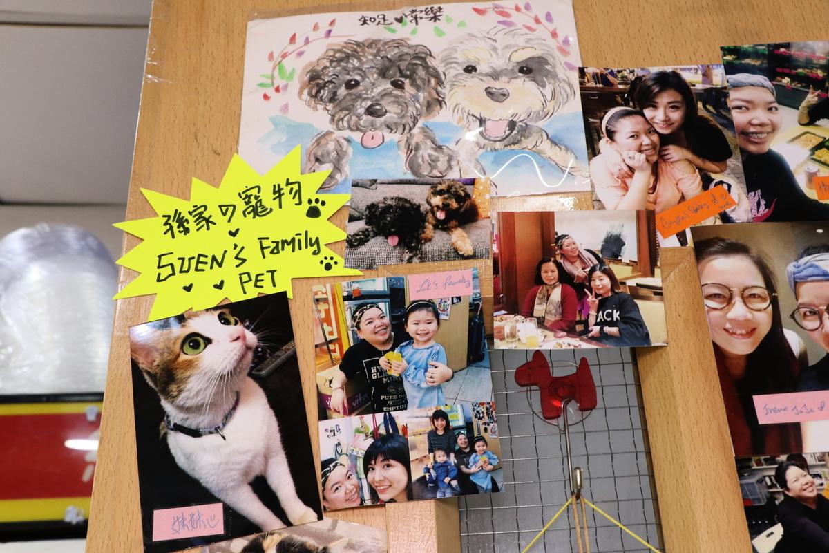 店內的相片牆,承載著Naomi和家人的美好回憶。(陳仲明/大紀元)
