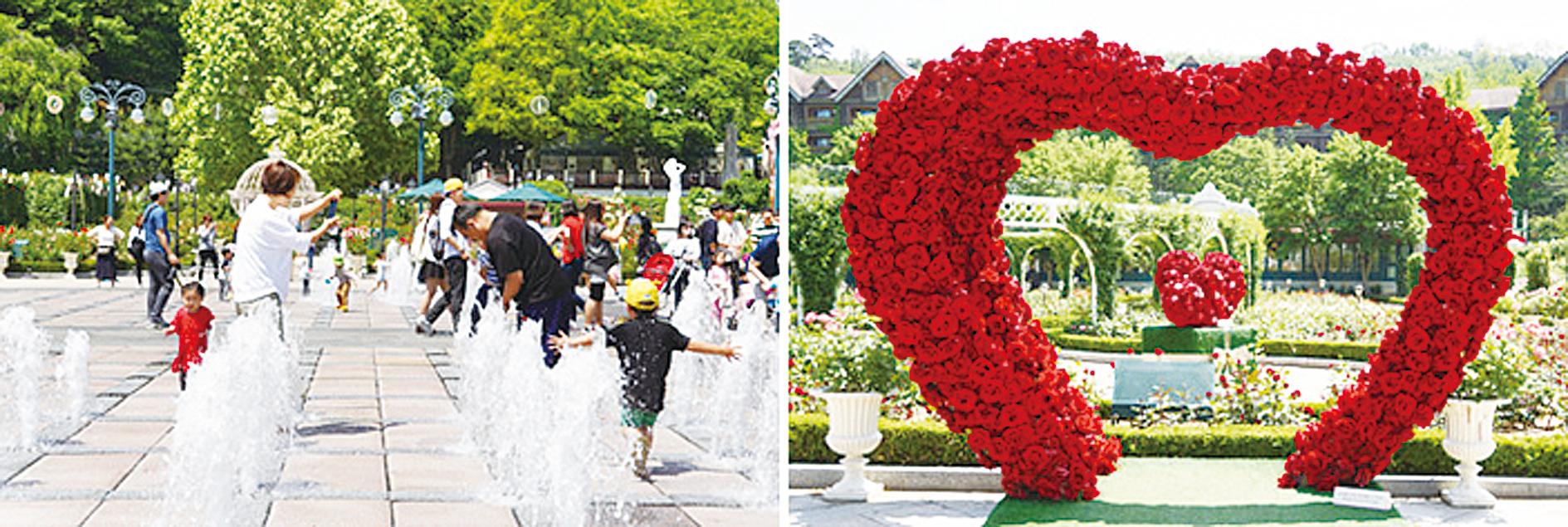 四季庭園和玫瑰園。