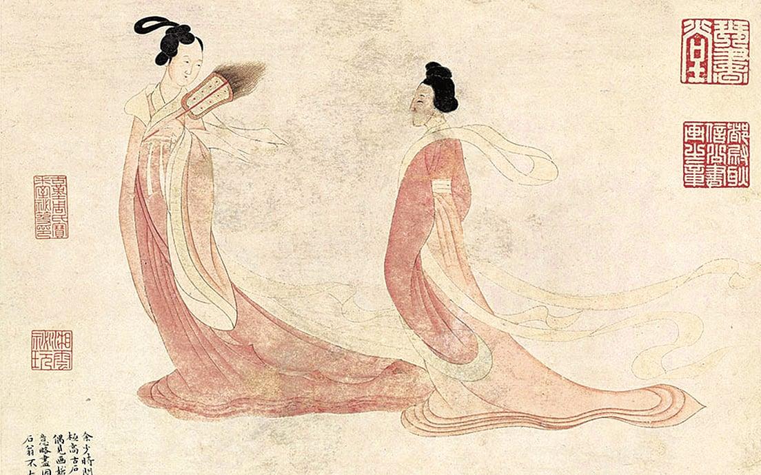 傳說娥皇、女英兩人的靈魂成了湘水之神。文徵明《湘君湘夫人圖》軸(局部)(公有領域)