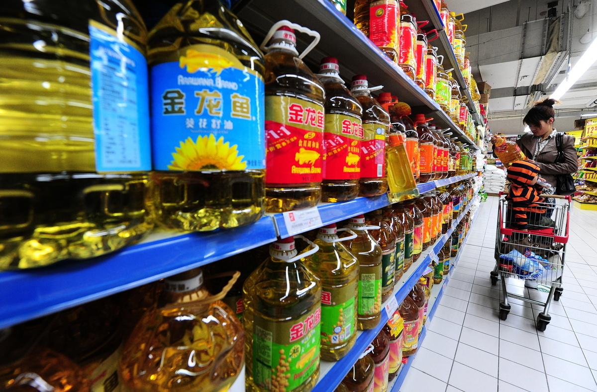 中美貿易戰開戰以來,中共報復性對美國農產品加徵25%關稅,已影響到大陸民眾的個人日常生活。圖為北京一家超市。(AFP/Getty Images)