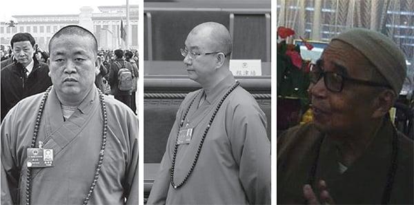 左起:少林寺方丈釋永信,北京龍泉寺方丈釋學誠,寶蓮寺前住持釋智慧。(網絡圖片,大紀元資料圖片)