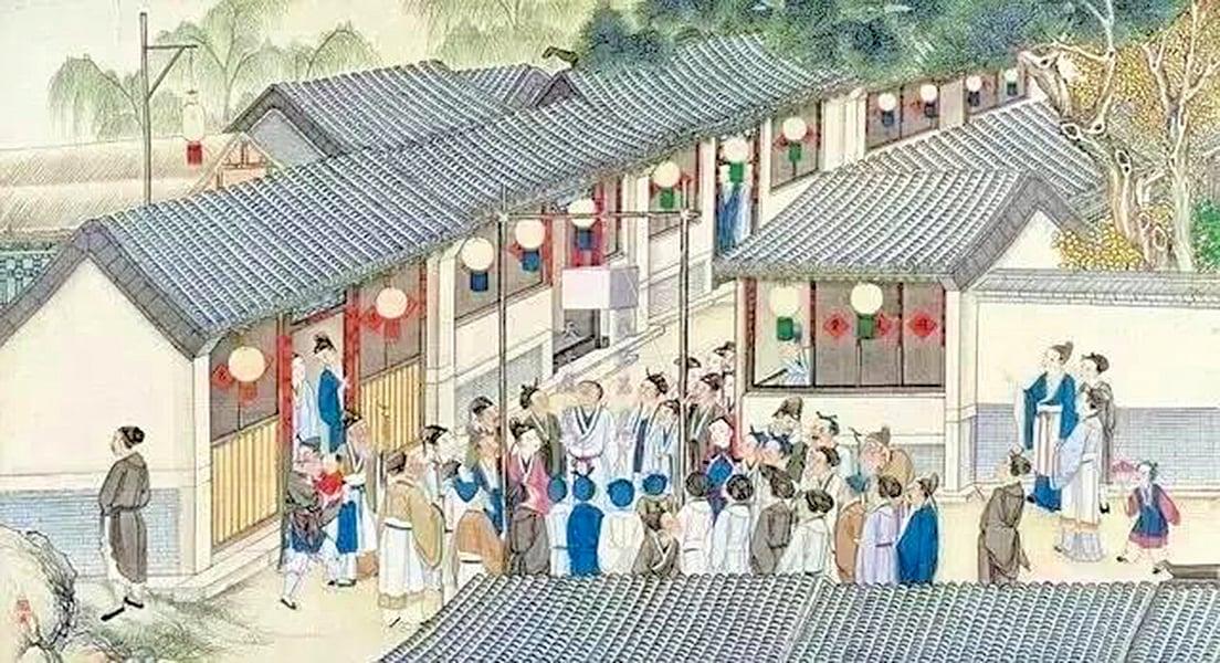 清孫溫繪畫《全本紅樓夢》中元宵節的「社火花燈」(公有領域)