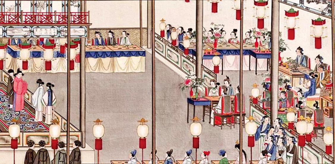 清孫溫繪畫《全本紅樓夢》中榮國府元宵開夜宴的場景(公有領域)