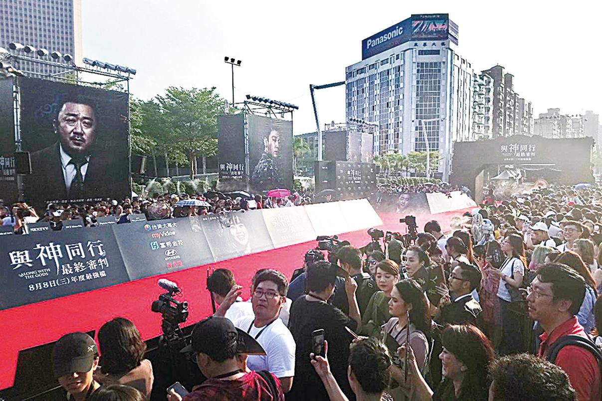 昨日《與神同行:最終審判》台北見面會現場情況。(網絡圖片)