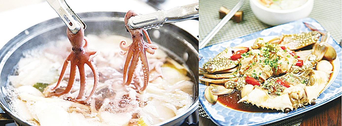 忠清南道瑞山市葫蘆瓤章魚湯和醬油花蟹。(瑞山市提供)