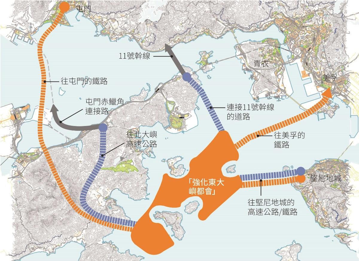 東大嶼都會人工島需要興建三條公路以及三條鐵路連接,環保觸覺預計強化版方案,需耗用公帑6千億元興建。(團結香港基金提供)