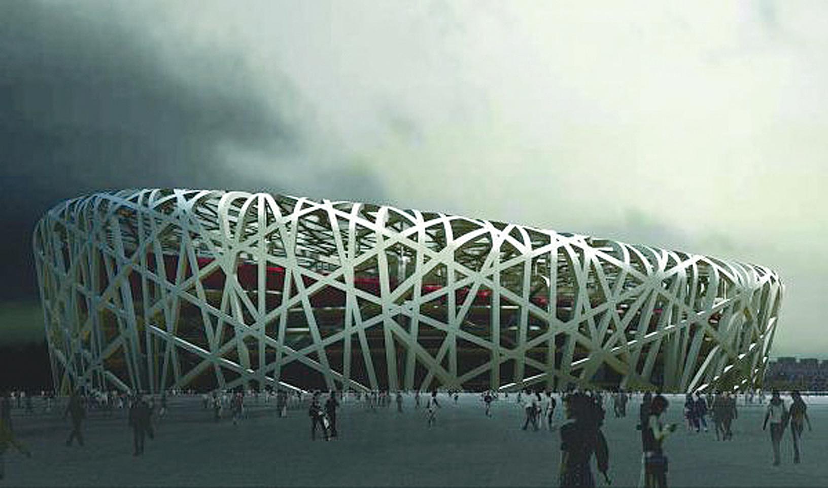 中共耗費鉅資大手筆興建的奧運主館「鳥巢」。(AFP PHOTO)