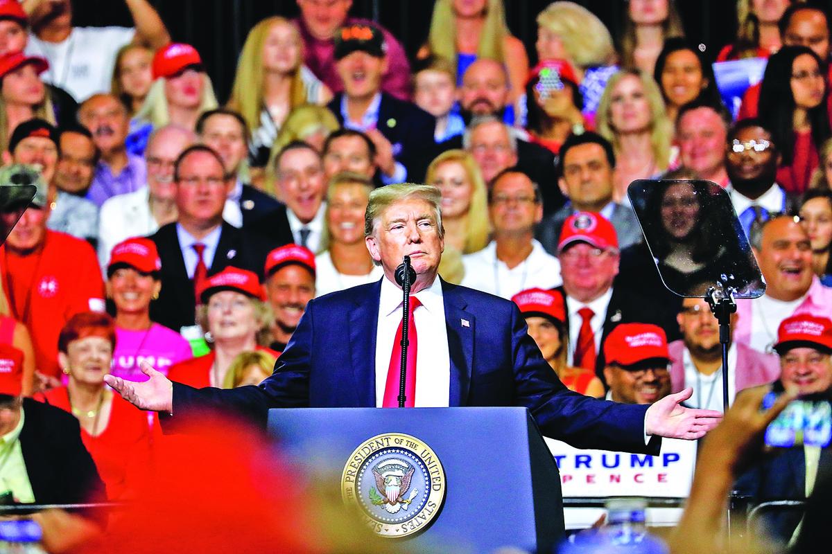7月31日,特朗普總統在佛州坦帕舉辦的集會上演講。(Charlotte Cuthbertson∕大紀元)