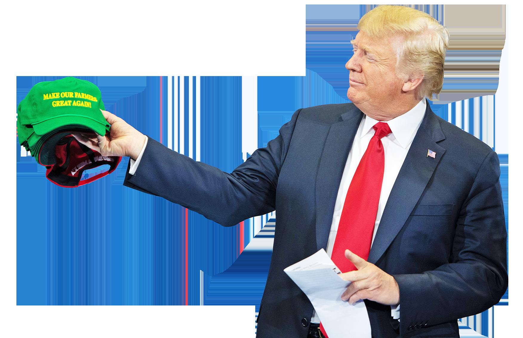 7月26日,美國總統特朗普在愛荷華州參加社區大學演講的時候,手持「讓我們的農民再次強大!」的帽子。(Getty Images)