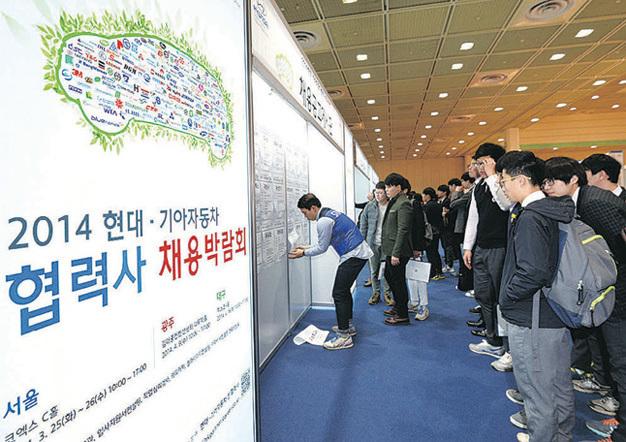 南韓法務部表示,南韓將從6月1日起辦理工作學習掛鉤型留學簽證並簡化流程。圖為2014年南韓企業招工現場。(NISI)