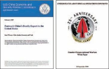 左圖:美國國會下屬的美中經濟與安全審查委員會(USCC)2017年2月曾發佈一份題為「芬太尼:中國對美國的致命出口」的研究報告。(USCC網站截圖)右圖:美國陸軍特種作戰司令部在2014年9月26日發表的一份題為「應對非常規戰」的白皮書。(白皮書封面截圖)