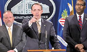 美國司法部副部長羅森斯坦(Rod Rosenstein)2017年10月17日宣佈,美國當局已經起訴兩名中國毒販。(Getty Images)
