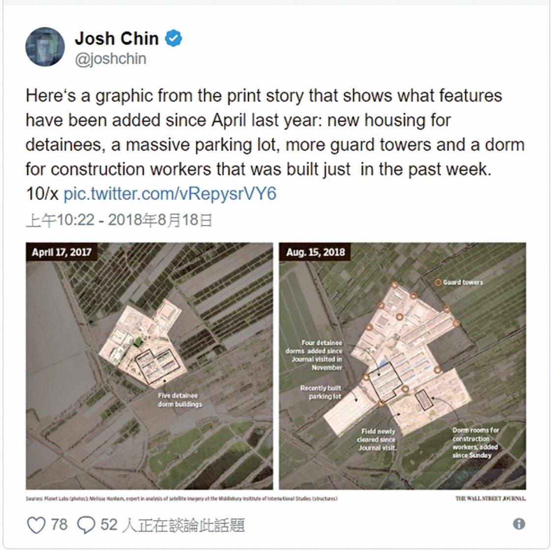 █衛星照片顯示新疆「再教育營」不斷擴大。(翻攝《華日》記者Josh Chin推特)